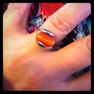 Coral colored Cats Eye Ring